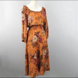Anthropologie Cara Cara Silk Orange Peasant Dress